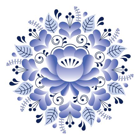 tile: Folk art floral pattern, Russian design inspired by Gzhel ceramics style