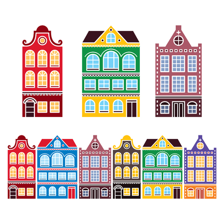 Amsterdam houses, Dutch buildings, Holland or Netherlands archictecture icons 일러스트