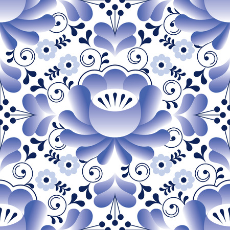 plate: Russian seamless folk pattern, traditional design with flower - Gzhel pottery style Illustration
