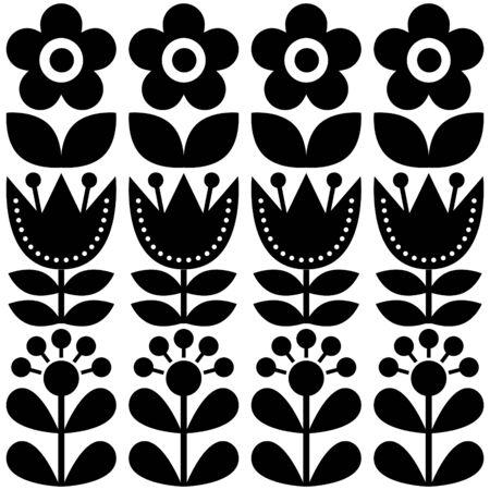 pattern: Scandinavian seamless pattern, Swedish folk art design, retro floral background