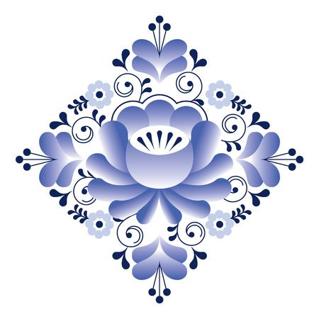 traditional culture: Russian Gzhel pattern - square shape, floral retro design