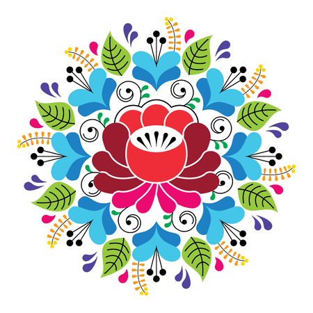 fashion: Russian inspired folk art pattern - colorful floral composition Illustration