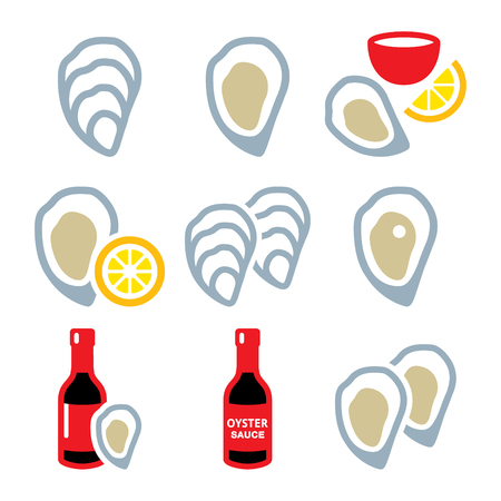 mollusc: Oysters shell, sauce - sea food icons set Illustration