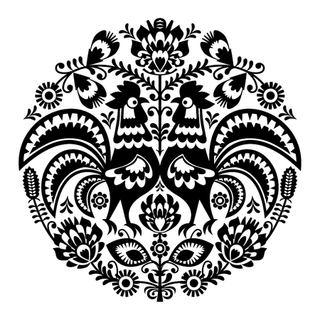primeval: Polish folk art floral round embroidery with roosters, traditional pattern - Wycinanki Lowickie Illustration