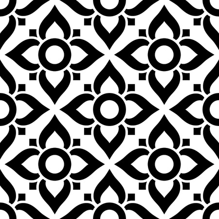 pattern: Thai seamless pattern with flowers - black and white tile, inspired by art from Thailand
