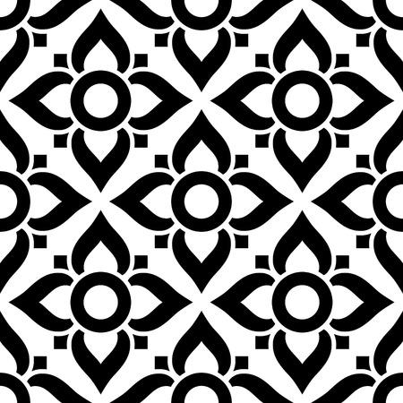 Thai nahtlose Muster mit Blumen - Schwarz-Weiß-Fliesen, inspiriert von Kunst aus Thailand