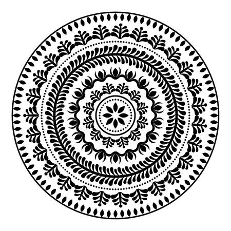 texture: Folk round pattern, hippie black mandala, boho style ornament