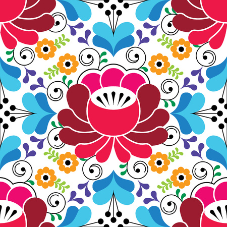 Russian seamless folk pattern, traditional colorful design with flowers