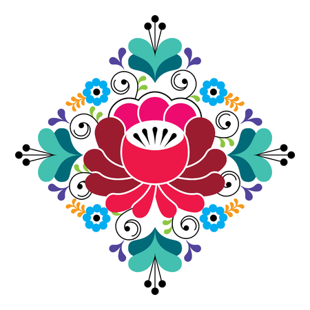 Russian folk design - floral pattern, colorful square composition Illustration