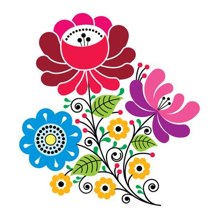 Folk flowers, Russian retro art, floral Gzhel design