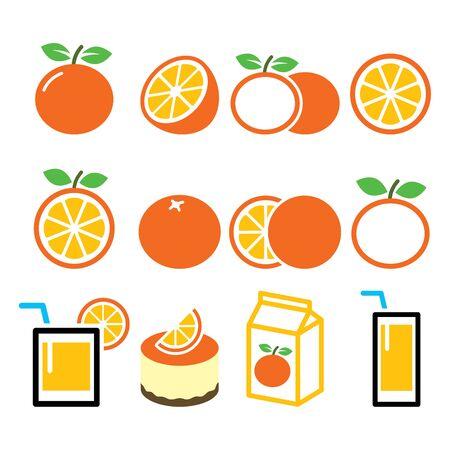 Orange icons set - food, nature concept vector designs