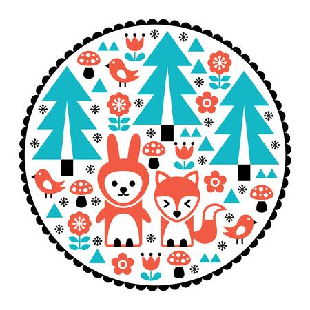 Children pattern, Scandinavian cute folk art design with nature and animals