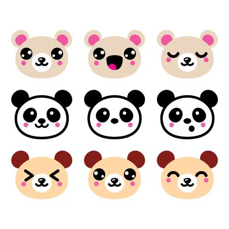 happy: Cute Kawaii bear icons set, panda bear design