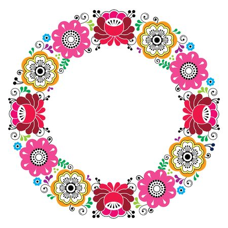 european culture: Russian floral wreath pattern - colorful folk art Illustration