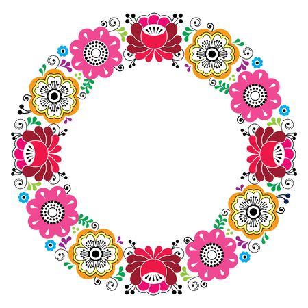 Russian floral wreath pattern - colorful folk art Illustration