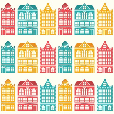 Seamless house pattern - Dutch, Amsterdam houses.
