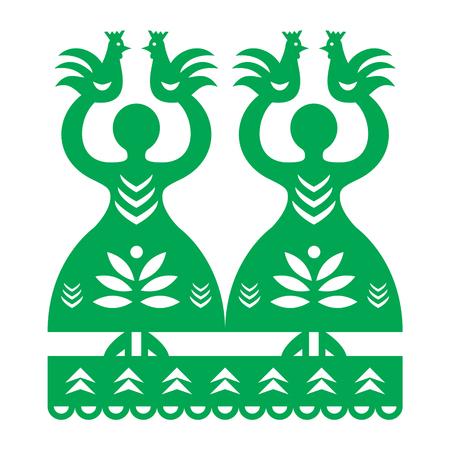 Polish folk art pattern Wycinanki Kurpiowskie - Kurpie Papercuts Illustration