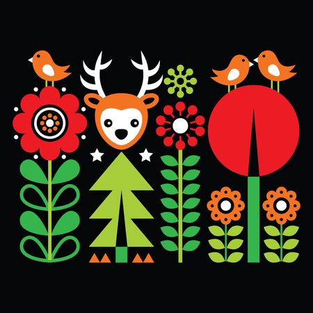 Scandinavian folk art pattern with flowers and animals, Finnish inspired design on black Illustration