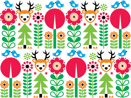 repetition: Scandinavian pattern, seamless folk art pattern, children background Illustration