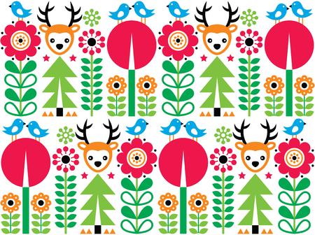Scandinavian pattern, seamless folk art pattern, children background Illustration