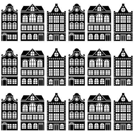 repetition: Seamless house pattern - Dutch, Amsterdam houses, retro style