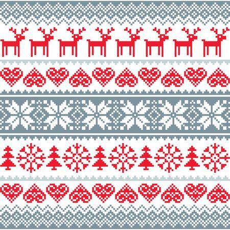 voyage: Hiver, motif roux rouge et gris de Noël, motif nordique à rennes et flocons de neige