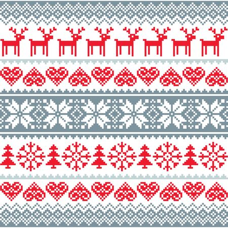 pattern: Winter, Christmas red and grey seamless pattern, Nordic pattern with reindeer and snowflakes