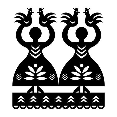 Folk art form Poland Wycinanki Kurpiowskie - Kurpie Papercuts pattern with women and birds Illustration