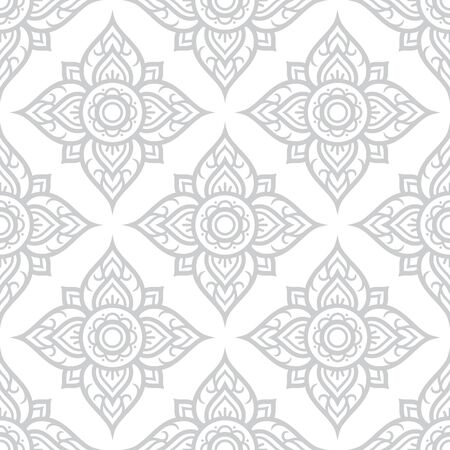 fashion: Thai flowers seamless pattern, Asian grey floral design from Thailand. Illustration