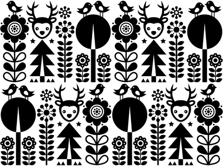 repetition: Scandinavian folk art pattern with flowers and animals, Finnish inspired design in black and white