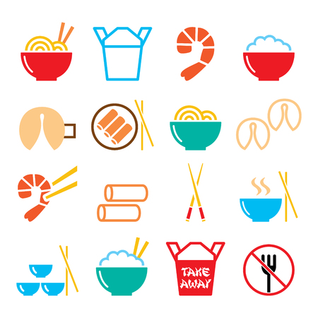 dessert buffet: Chinese take away food icons - pasta, rice, spring rolls, fortune cookies