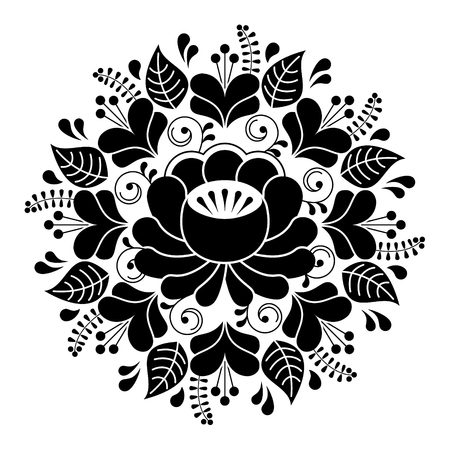 rose: Russian inspired folk art pattern - black and white composition