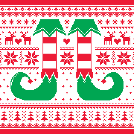 christmas postcard: Christmas seamless pattern with elf and reindeer, red and green repetitive design