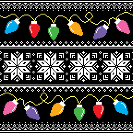 Ugly jumper pattern with Christmas tree lights 向量圖像