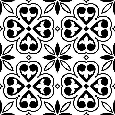 modern interior: Spanish tiles pattern, Moroccan or Portuguese tile seamless design in black and white Illustration