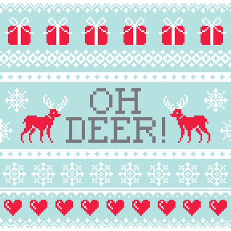 Oh deer pattern, Christmas seamless design, winter background Illustration