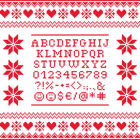 forme: Cross stitch uppercase alphabet with numbers and symbols pattern, embroidery design Illustration