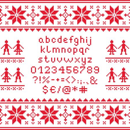 numbers background: Cross stitch lowercase alphabet with numbers and symbols pattern, embroidery design