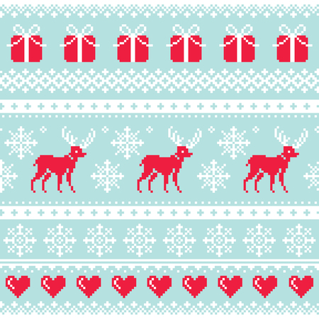 Reindeer pattern, Christmas seamless design, winter background
