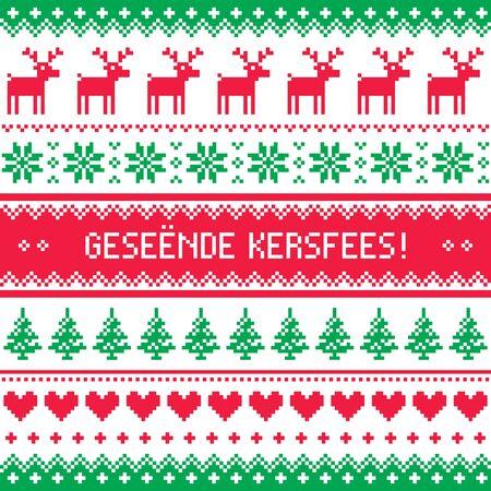 texture: Geseende Kersfees - Merry Christmas in Afrikaans greetings card, seamless pattern