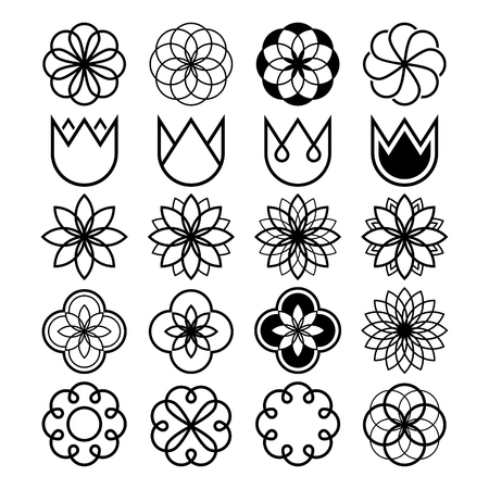 forme: Geometric flowers, abstract flower set, tulip shape, line icons