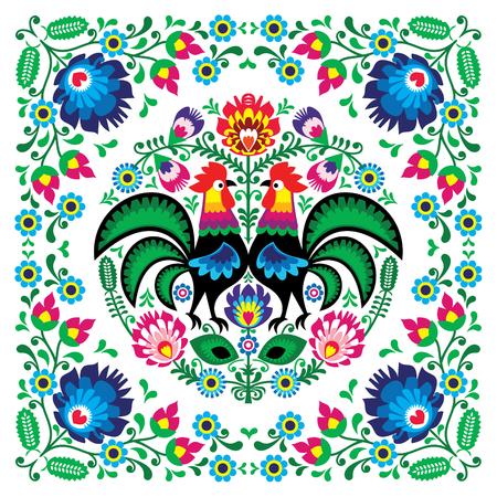 Polski kwiatowy wzór ludowy kwadratowy wzór z kogutem - wzory lowickie, wycinanki Ilustracje wektorowe