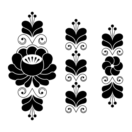 repetitive: Russian folk art pattern - floral long stripes in black and white