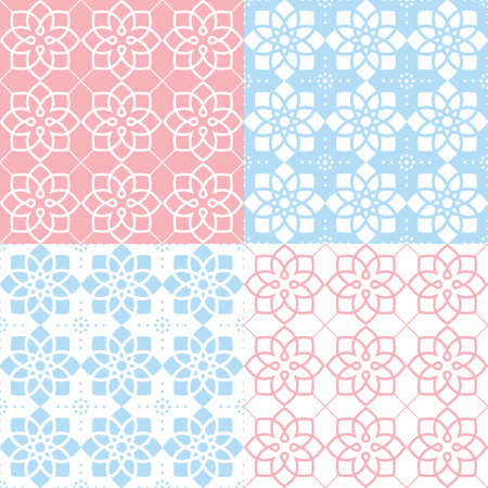 red wallpaper: Geometric seamless pattern, Arabic ornament style, tiled design in pink and blue