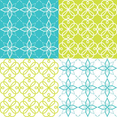 Patrón geométrico sin costuras, estilo de ornamento árabe, diseño de mosaico en color turquesa y verde