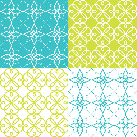 Geometric seamless pattern, Arabic ornament style, tiled design in turquoise and green color Illustration