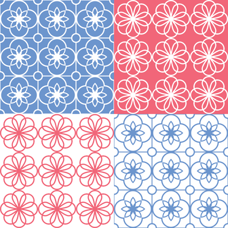mosaic: Geometric seamless pattern, Arabic ornament style, tiled design in bnavy blue and red color Illustration