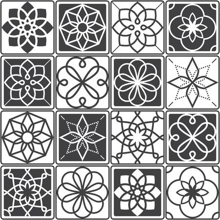 Portuguese Azulejo tiles design, seamless geometric patterns collection in dark grey Иллюстрация