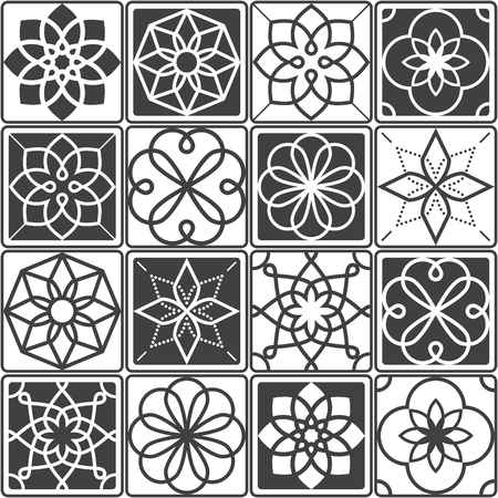 Portuguese Azulejo tiles design, seamless geometric patterns collection in dark grey Illustration