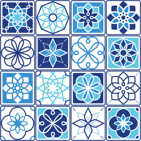 Portuguese Azulejo tiles design, seamless geometric patterns collection in navy blue and turquoise 일러스트